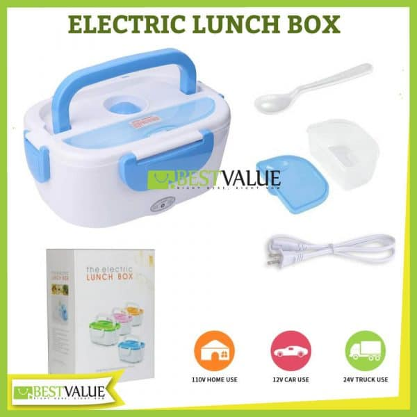 electric portable lunch heating box 4 colors spoon power cable and box